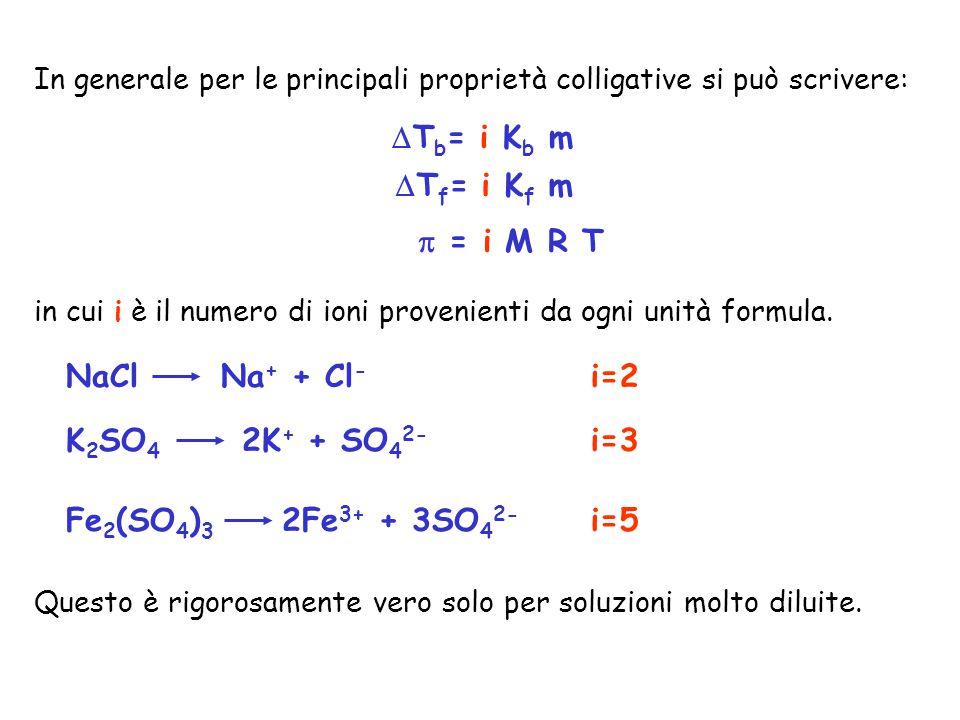 In generale per le principali proprietà colligative si può scrivere: in cui i è il numero di ioni provenienti da ogni unità formula.  = i M R T  T b