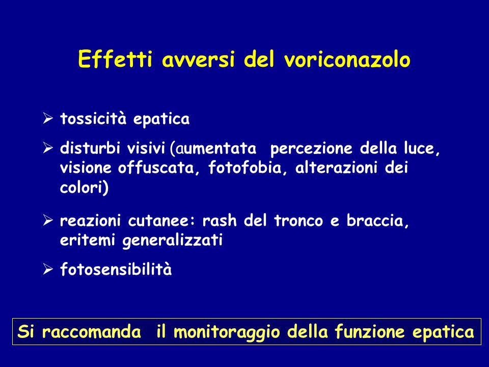 Effetti avversi del voriconazolo  tossicità epatica  disturbi visivi (aumentata percezione della luce, visione offuscata, fotofobia, alterazioni dei