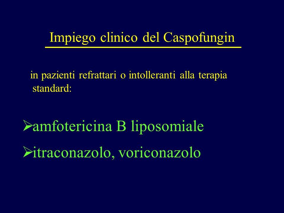 Impiego clinico del Caspofungin in pazienti refrattari o intolleranti alla terapia standard:  amfotericina B liposomiale  itraconazolo, voriconazolo