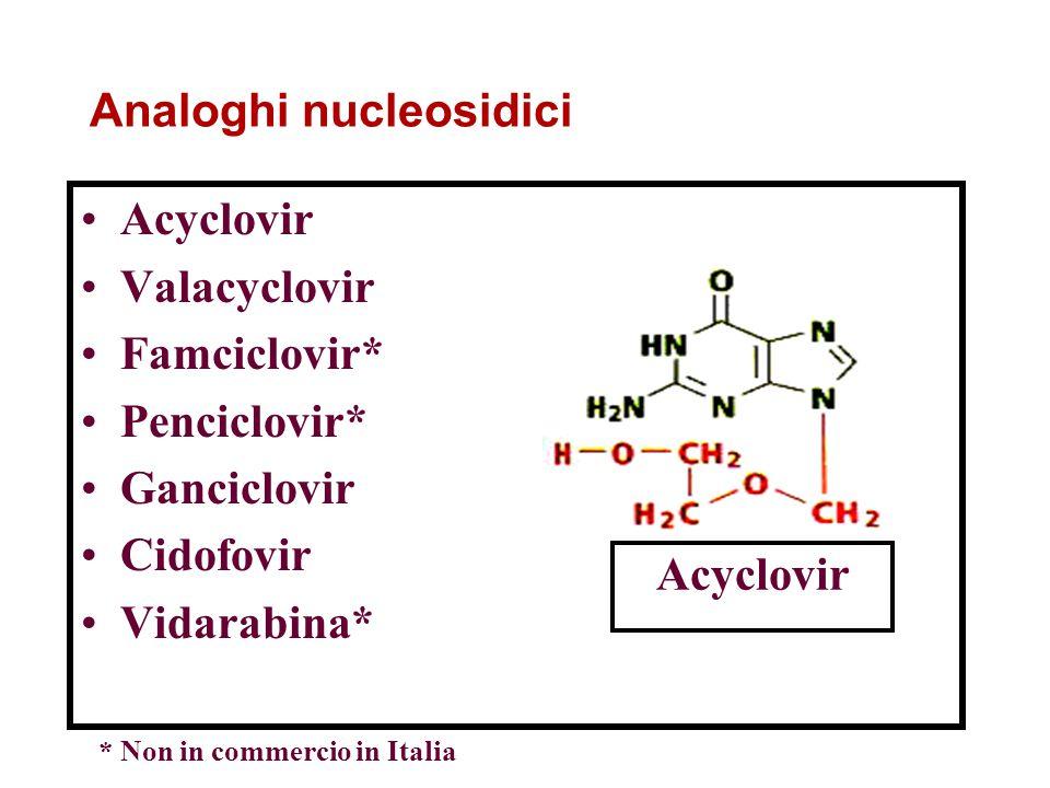 Analoghi nucleosidici Acyclovir Valacyclovir Famciclovir* Penciclovir* Ganciclovir Cidofovir Vidarabina* Acyclovir * Non in commercio in Italia