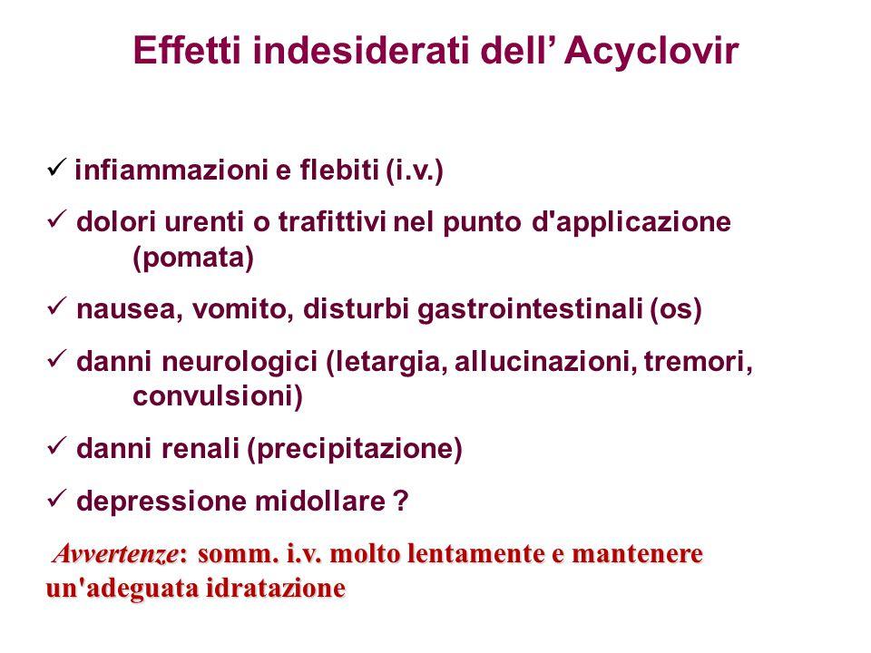 infiammazioni e flebiti (i.v.) dolori urenti o trafittivi nel punto d'applicazione (pomata) nausea, vomito, disturbi gastrointestinali (os) danni neur