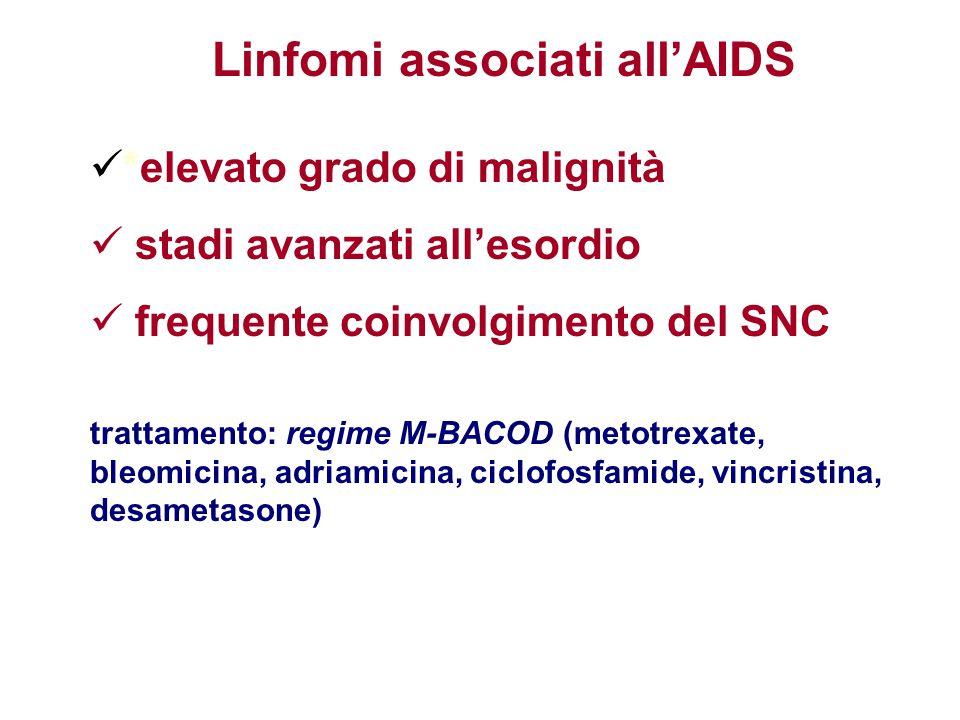*elevato grado di malignità stadi avanzati all'esordio frequente coinvolgimento del SNC trattamento: regime M-BACOD (metotrexate, bleomicina, adriamic