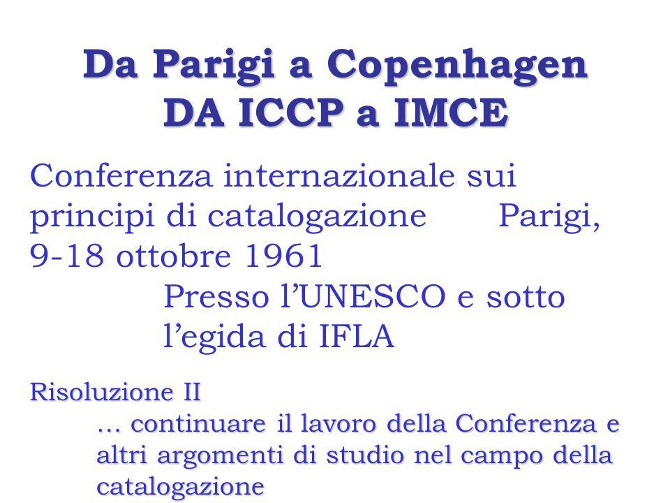 Da Parigi a Copenhagen DA ICCP a IMCE Conferenza internazionale sui principi di catalogazione Parigi, 9-18 ottobre 1961 Presso l'UNESCO e sotto l'egida di IFLA Risoluzione II … continuare il lavoro della Conferenza e altri argomenti di studio nel campo della catalogazione