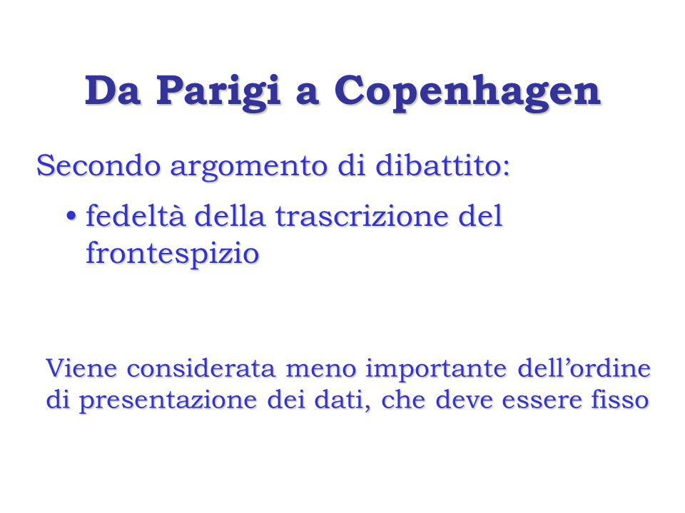 Da Parigi a Copenhagen Secondo argomento di dibattito: fedeltà della trascrizione del frontespiziofedeltà della trascrizione del frontespizio Viene considerata meno importante dell'ordine di presentazione dei dati, che deve essere fisso