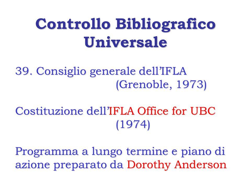 Controllo Bibliografico Universale 39.