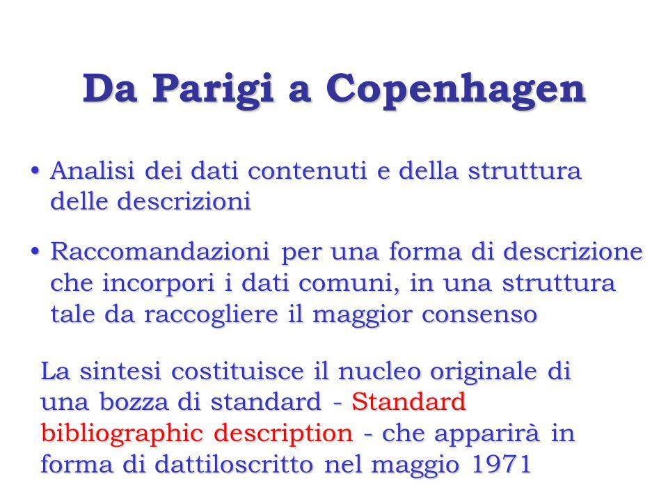 Da Parigi a Copenhagen Analisi dei dati contenuti e della struttura delle descrizioniAnalisi dei dati contenuti e della struttura delle descrizioni Raccomandazioni per una forma di descrizione che incorpori i dati comuni, in una struttura tale da raccogliere il maggior consensoRaccomandazioni per una forma di descrizione che incorpori i dati comuni, in una struttura tale da raccogliere il maggior consenso La sintesi costituisce il nucleo originale di una bozza di standard - Standard bibliographic description - che apparirà in forma di dattiloscritto nel maggio 1971