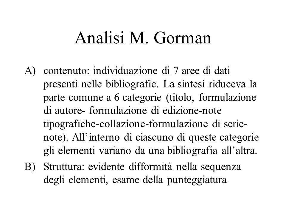 Analisi M. Gorman A)contenuto: individuazione di 7 aree di dati presenti nelle bibliografie.