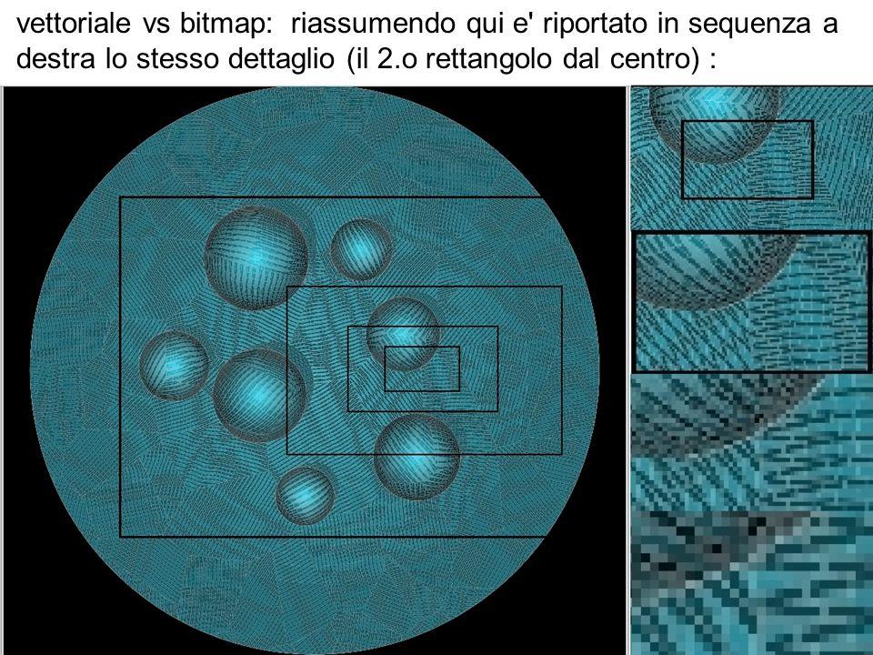 vettoriale vs bitmap: riassumendo qui e riportato in sequenza a destra lo stesso dettaglio (il 2.o rettangolo dal centro) :