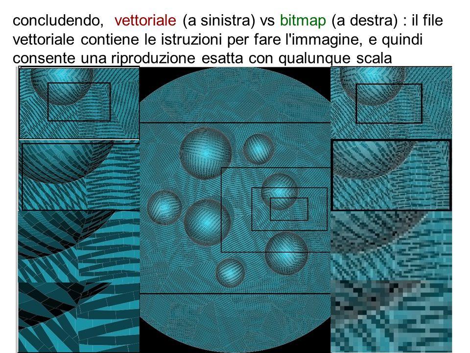 concludendo, vettoriale (a sinistra) vs bitmap (a destra) : il file vettoriale contiene le istruzioni per fare l immagine, e quindi consente una riproduzione esatta con qualunque scala