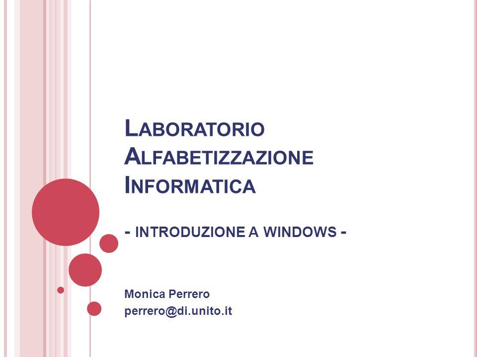 Monica Perrero perrero@di.unito.it L ABORATORIO A LFABETIZZAZIONE I NFORMATICA - INTRODUZIONE A WINDOWS -