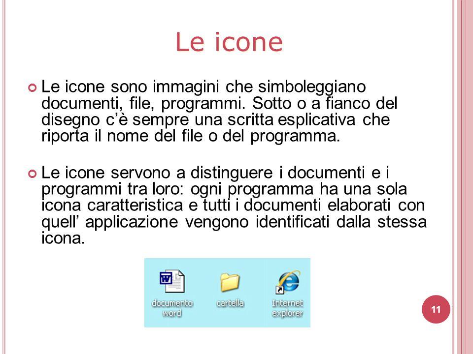11 Le icone sono immagini che simboleggiano documenti, file, programmi. Sotto o a fianco del disegno c'è sempre una scritta esplicativa che riporta il