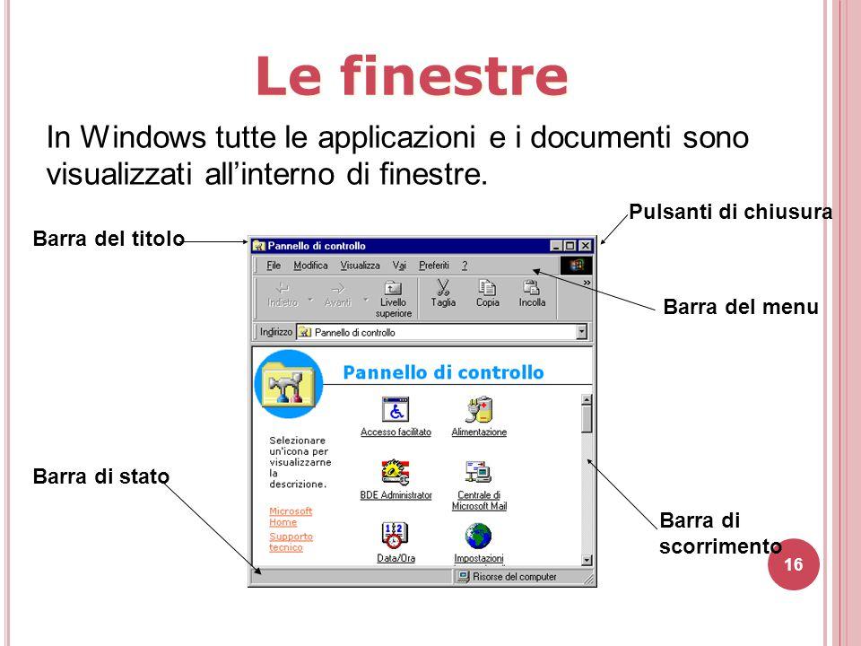 16 In Windows tutte le applicazioni e i documenti sono visualizzati all'interno di finestre. Barra del titolo Barra di stato Pulsanti di chiusura Barr