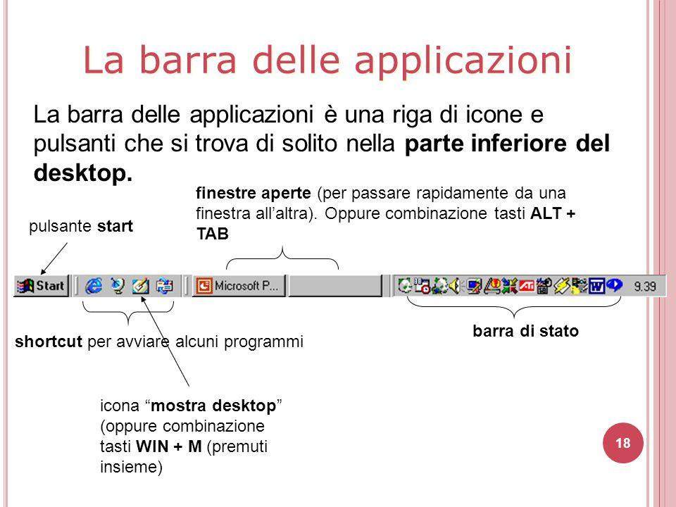 18 La barra delle applicazioni è una riga di icone e pulsanti che si trova di solito nella parte inferiore del desktop. pulsante start finestre aperte