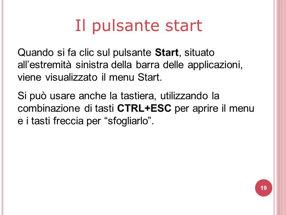 19 Quando si fa clic sul pulsante Start, situato all'estremità sinistra della barra delle applicazioni, viene visualizzato il menu Start. Si può usare