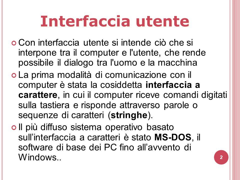 Interfaccia utente Con interfaccia utente si intende ciò che si interpone tra il computer e l'utente, che rende possibile il dialogo tra l'uomo e la m