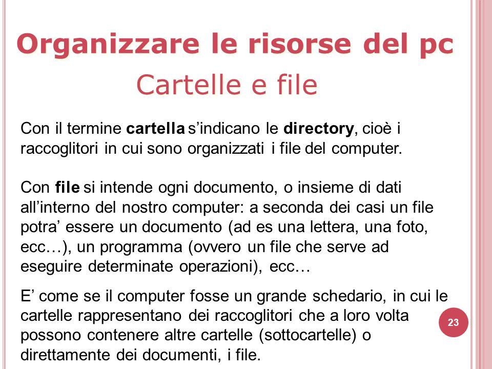 23 Con il termine cartella s'indicano le directory, cioè i raccoglitori in cui sono organizzati i file del computer. Con file si intende ogni document