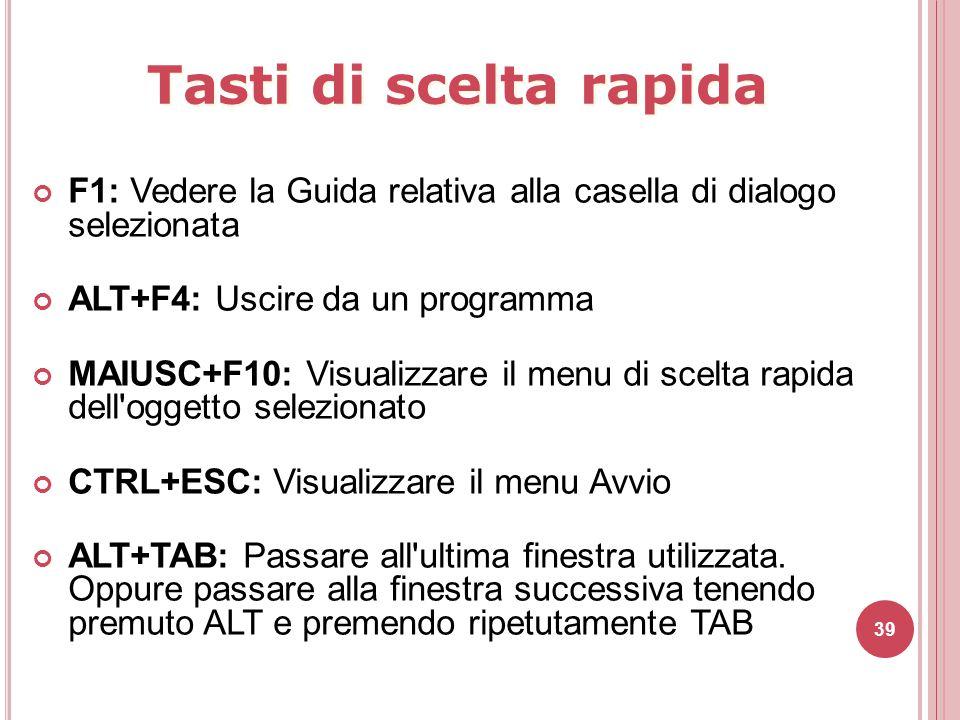39 F1: Vedere la Guida relativa alla casella di dialogo selezionata ALT+F4: Uscire da un programma MAIUSC+F10: Visualizzare il menu di scelta rapida d