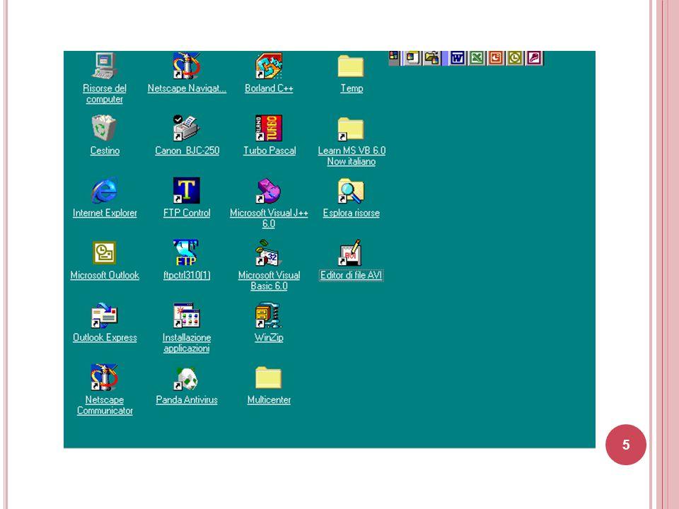 il dischetto ( floppy disk ), indicato con la lettera A: la cui capacità è, normalmente, di 1.44 MByte (ormai in disuso) il disco fisso ( hard disk ), indicato solitamente con la lettera C: il CD-ROM, indicato solitamente con la lettera D: o E: la cui capacità è di 650/700 Mbyte (attualmente il CD-ROM è quasi completamente stato soppiantato dai DVD-ROM la cui capacità è di 4,7 GB) altre unita' che rappresentano dispositivi di memorizzazione esterna (es.