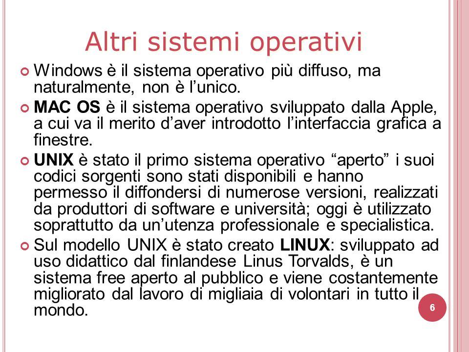 Windows è il sistema operativo più diffuso, ma naturalmente, non è l'unico. MAC OS è il sistema operativo sviluppato dalla Apple, a cui va il merito d