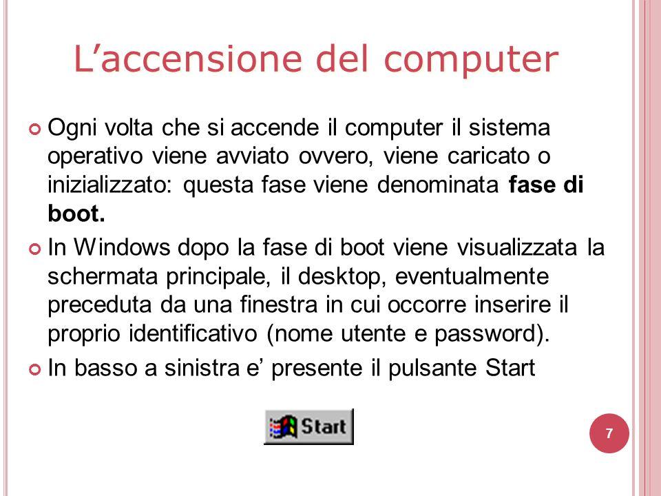 7 Ogni volta che si accende il computer il sistema operativo viene avviato ovvero, viene caricato o inizializzato: questa fase viene denominata fase d