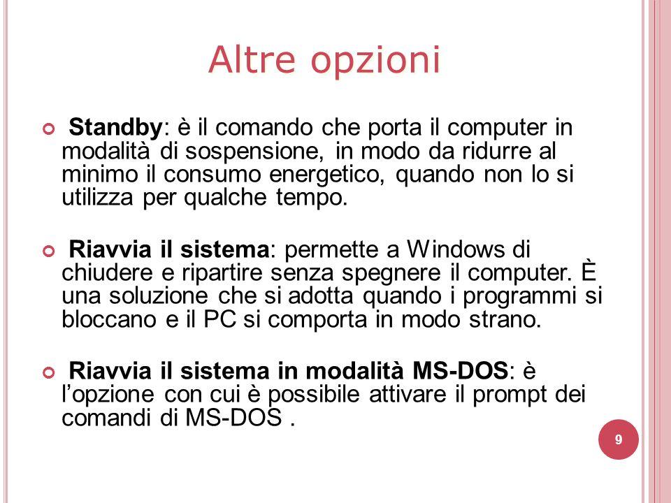 Standby: è il comando che porta il computer in modalità di sospensione, in modo da ridurre al minimo il consumo energetico, quando non lo si utilizza
