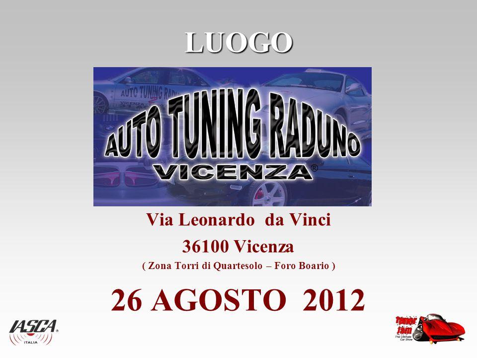 LUOGO Via Leonardo da Vinci 36100 Vicenza ( Zona Torri di Quartesolo – Foro Boario ) 26 AGOSTO 2012
