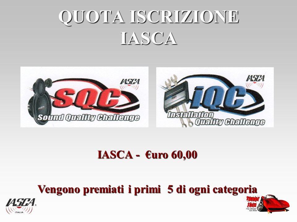 QUOTA ISCRIZIONE IASCA IASCA - €uro 60,00 Vengono premiati i primi 5 di ogni categoria Vengono premiati i primi 5 di ogni categoria