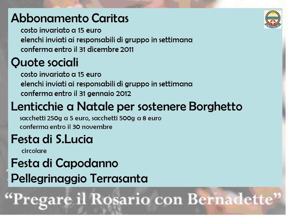Abbonamento Caritas costo invariato a 15 euro elenchi inviati ai responsabili di gruppo in settimana conferma entro il 31 dicembre 2011 Quote sociali