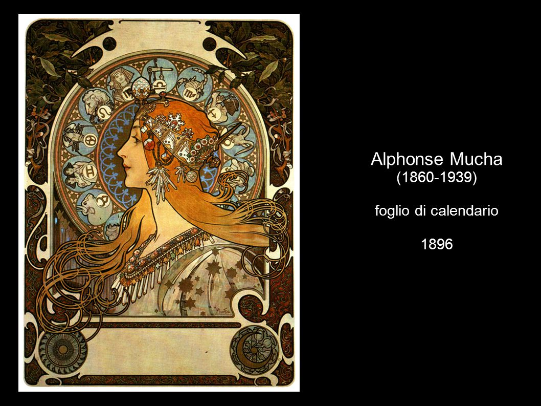 Alphonse Mucha (1860-1939) foglio di calendario 1896