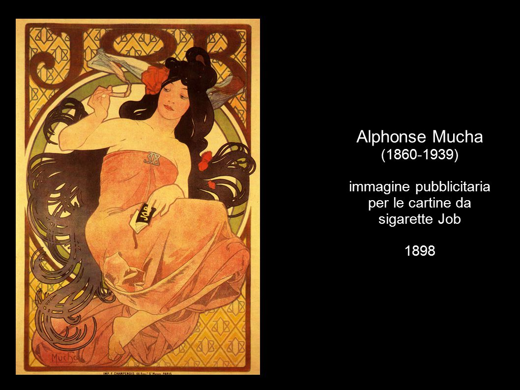 Alphonse Mucha (1860-1939) immagine pubblicitaria per le cartine da sigarette Job 1898