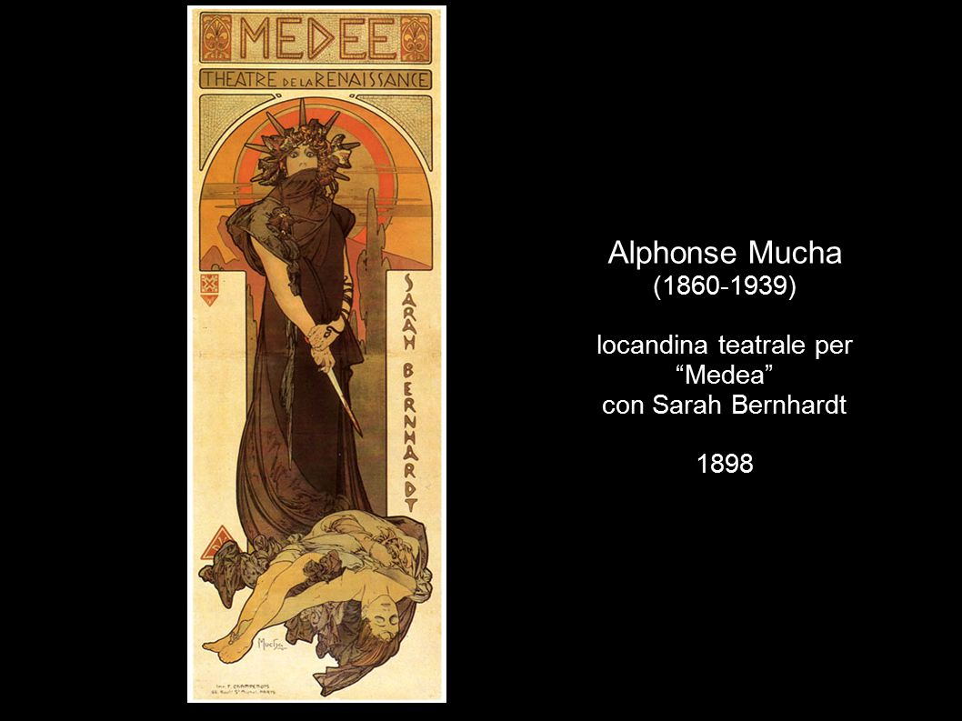 "Alphonse Mucha (1860-1939) locandina teatrale per ""Medea"" con Sarah Bernhardt 1898"