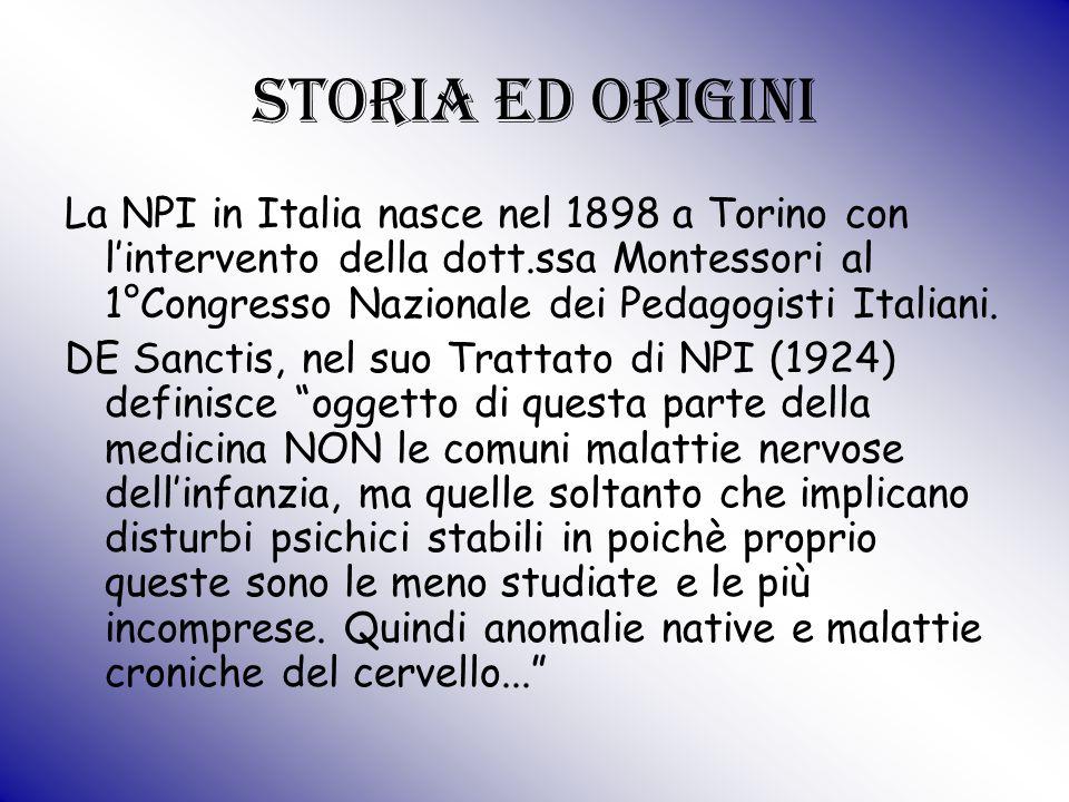 Storia ed origini La NPI in Italia nasce nel 1898 a Torino con l'intervento della dott.ssa Montessori al 1°Congresso Nazionale dei Pedagogisti Italian