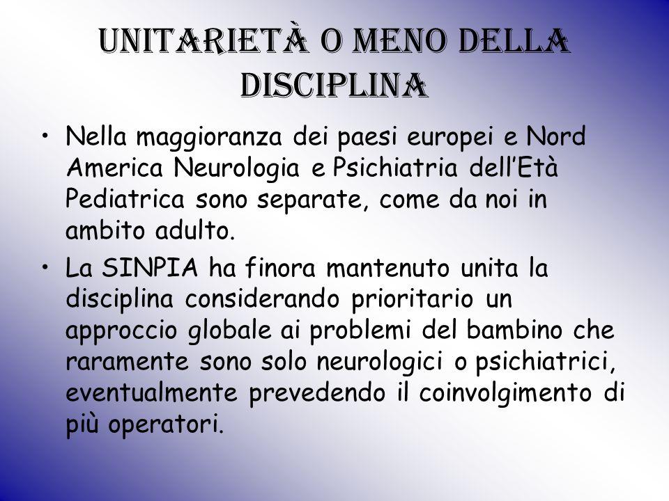 Unitarietà o meno della disciplina Nella maggioranza dei paesi europei e Nord America Neurologia e Psichiatria dell'Età Pediatrica sono separate, come