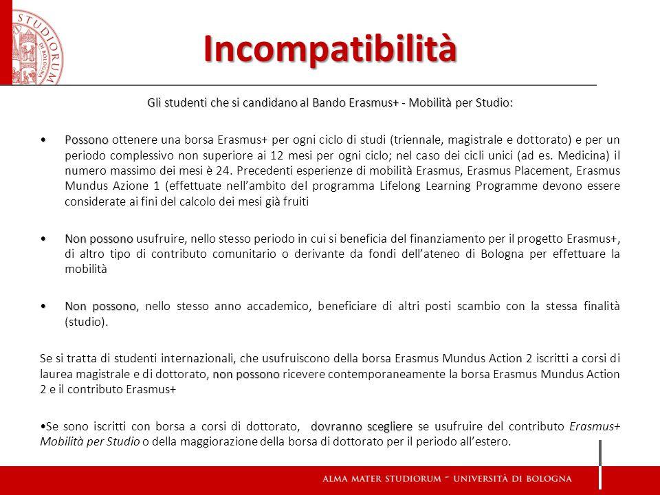 Incompatibilità Gli studenti che si candidano al Bando Erasmus+ - Mobilità per Studio: PossonoPossono ottenere una borsa Erasmus+ per ogni ciclo di st