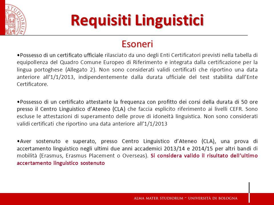 Requisiti Linguistici Esoneri Possesso di un certificato ufficialePossesso di un certificato ufficiale rilasciato da uno degli Enti Certificatori previsti nella tabella di equipollenza del Quadro Comune Europeo di Riferimento e integrata dalla certificazione per la lingua portoghese (Allegato 2).