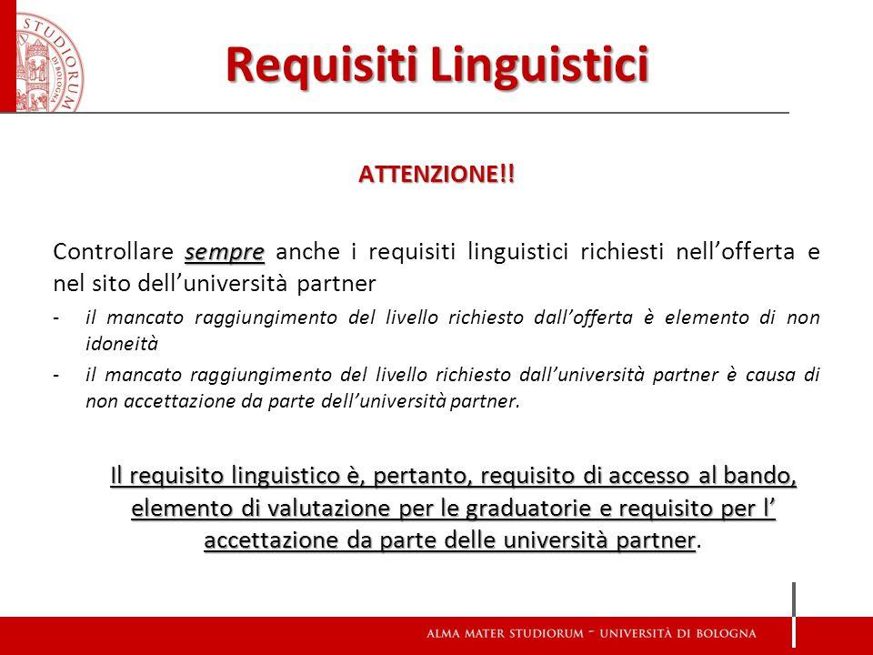 Requisiti Linguistici ATTENZIONE!! sempre Controllare sempre anche i requisiti linguistici richiesti nell'offerta e nel sito dell'università partner -