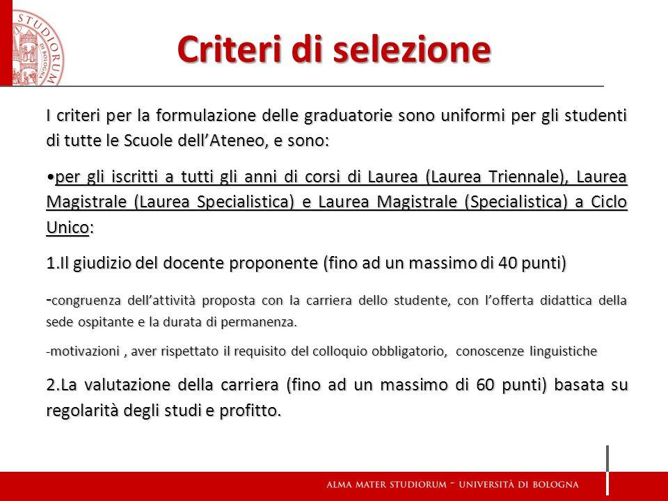 Criteri di selezione I criteri per la formulazione delle graduatorie sono uniformi per gli studenti di tutte le Scuole dell'Ateneo, e sono: per gli is