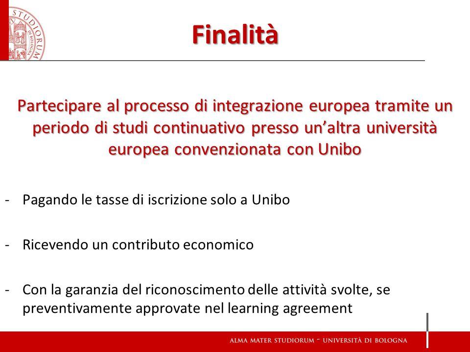 Finalità Partecipare al processo di integrazione europea tramite un periodo di studi continuativo presso un'altra università europea convenzionata con