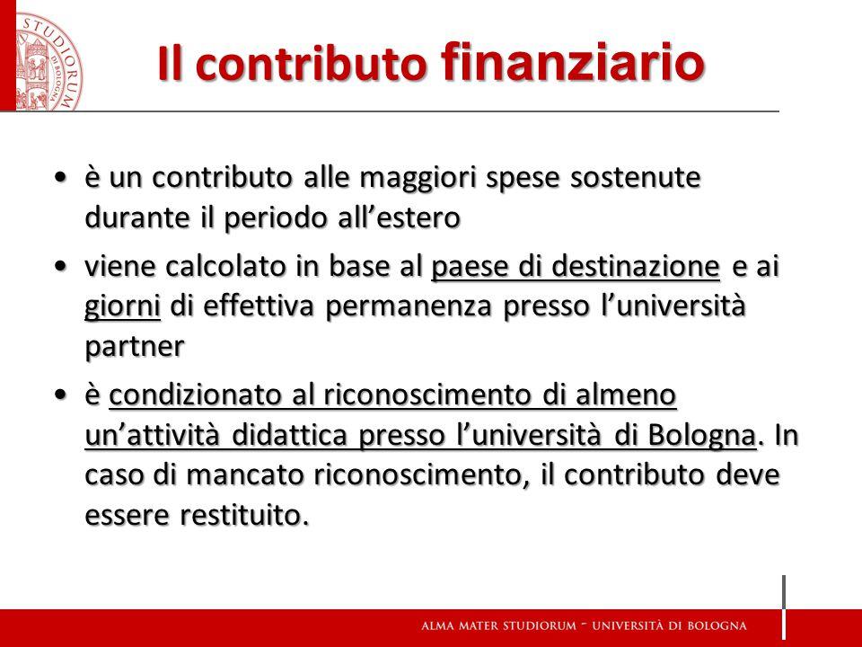 Il contributo finanziario è un contributo alle maggiori spese sostenute durante il periodo all'esteroè un contributo alle maggiori spese sostenute dur