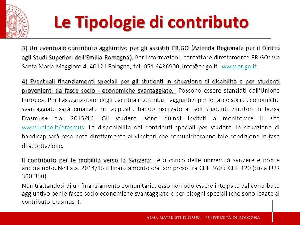 Le Tipologie di contributo 3) Un eventuale contributo aggiuntivo per gli assistiti ER.GO (Azienda Regionale per il Diritto agli Studi Superiori dell Emilia-Romagna).