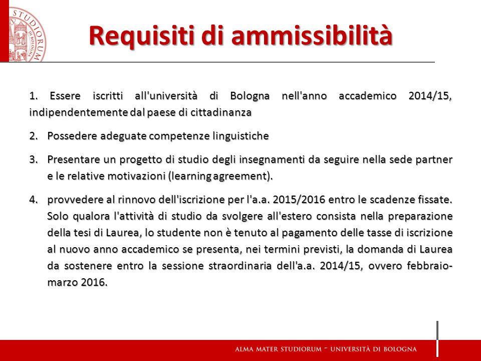 Requisiti di ammissibilità 1. Essere iscritti all'università di Bologna nell'anno accademico 2014/15, indipendentemente dal paese di cittadinanza 2.Po