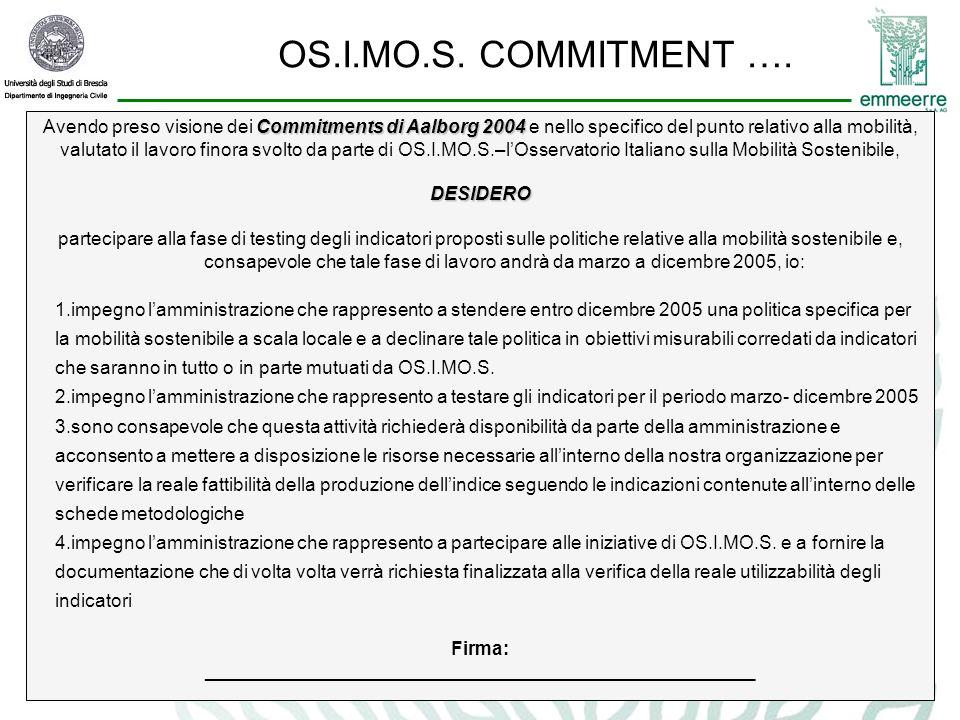 Commitments di Aalborg 2004 Avendo preso visione dei Commitments di Aalborg 2004 e nello specifico del punto relativo alla mobilità, valutato il lavoro finora svolto da parte di OS.I.MO.S.–l'Osservatorio Italiano sulla Mobilità Sostenibile,DESIDERO partecipare alla fase di testing degli indicatori proposti sulle politiche relative alla mobilità sostenibile e, consapevole che tale fase di lavoro andrà da marzo a dicembre 2005, io: 1.impegno l'amministrazione che rappresento a stendere entro dicembre 2005 una politica specifica per la mobilità sostenibile a scala locale e a declinare tale politica in obiettivi misurabili corredati da indicatori che saranno in tutto o in parte mutuati da OS.I.MO.S.