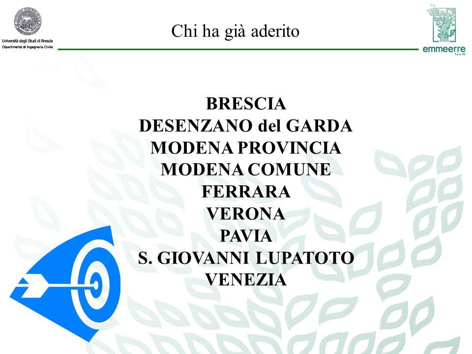 Chi ha già aderito BRESCIA DESENZANO del GARDA MODENA PROVINCIA MODENA COMUNE FERRARA VERONA PAVIA S.