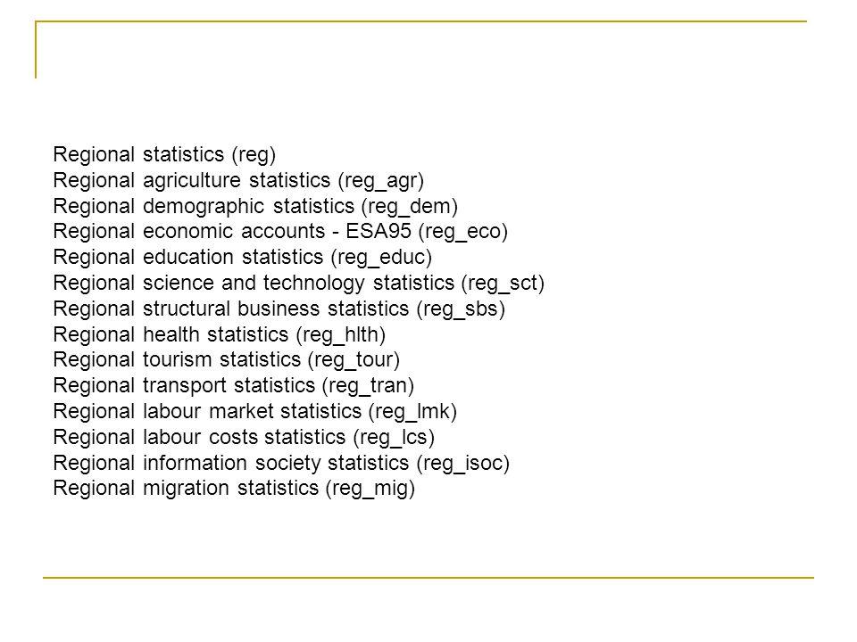 5 A) I database europei regionali La classificazione regionale si basa sulla nomenclatura dell'Eurostat delle Unità Territoriali per la statistica (NUTS).