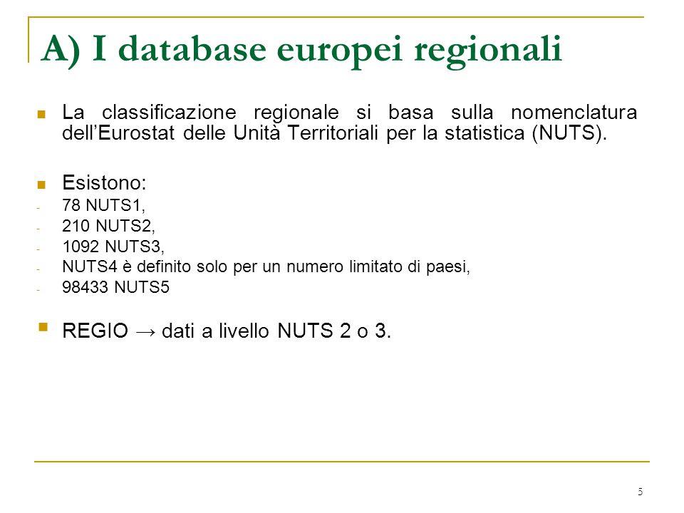 6 A) I database europei regionali Cambridge Econometrics OECD regional statistics