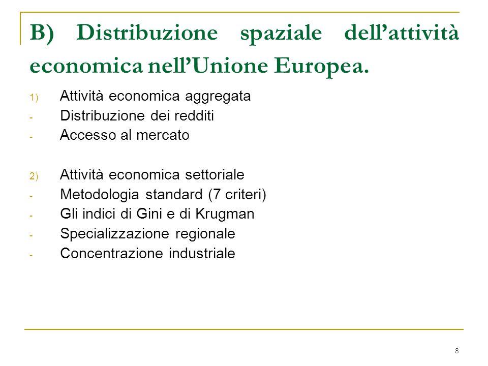 9 1) Attività economica aggregata Nella distribuzione dei redditi UE possiamo identificare: un centro di regioni ricche che hanno alti GDP pro capite e sono localizzati uno vicino all'altro; una periferia povera costituita dalle regioni fuori dal centro.