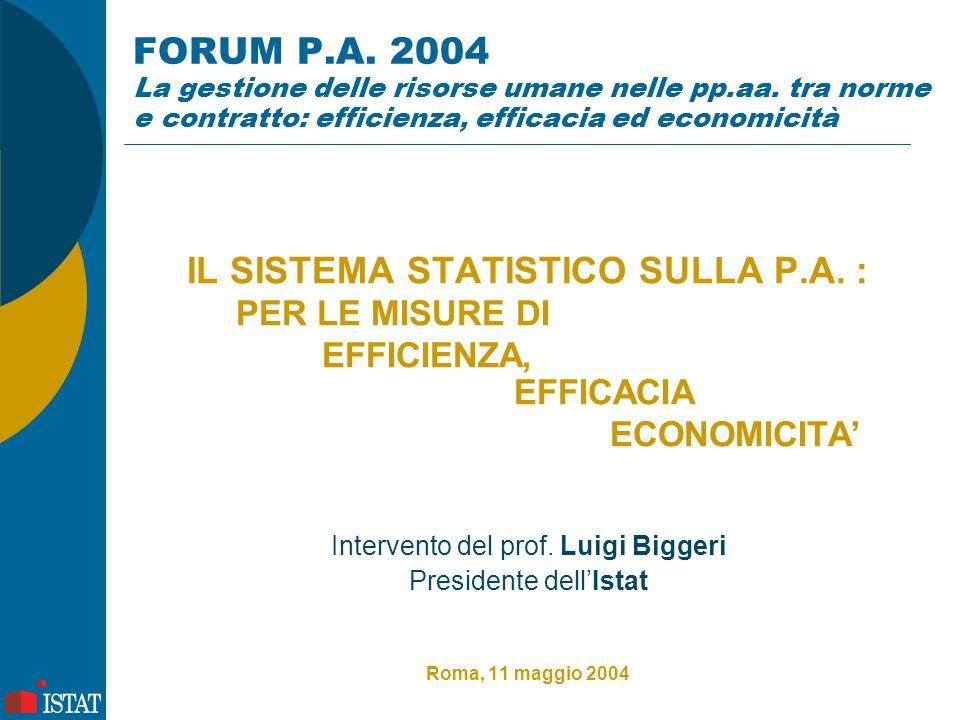 FORUM P.A. 2004 La gestione delle risorse umane nelle pp.aa. tra norme e contratto: efficienza, efficacia ed economicità IL SISTEMA STATISTICO SULLA P