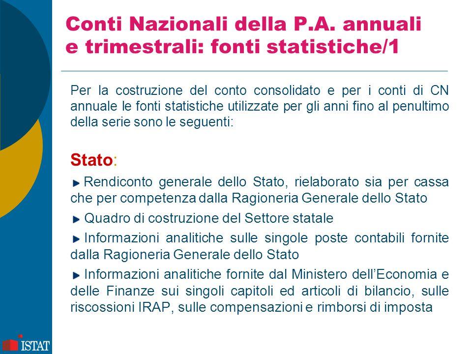 Conti Nazionali della P.A. annuali e trimestrali: fonti statistiche/1 Per la costruzione del conto consolidato e per i conti di CN annuale le fonti st