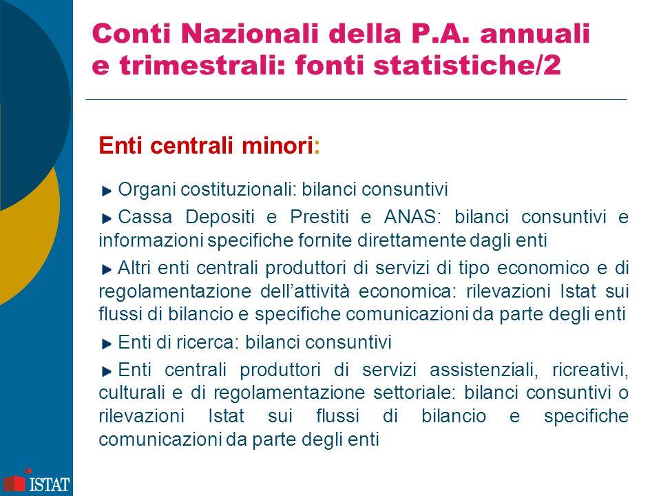 Conti Nazionali della P.A. annuali e trimestrali: fonti statistiche/2 Enti centrali minori: Organi costituzionali: bilanci consuntivi Cassa Depositi e