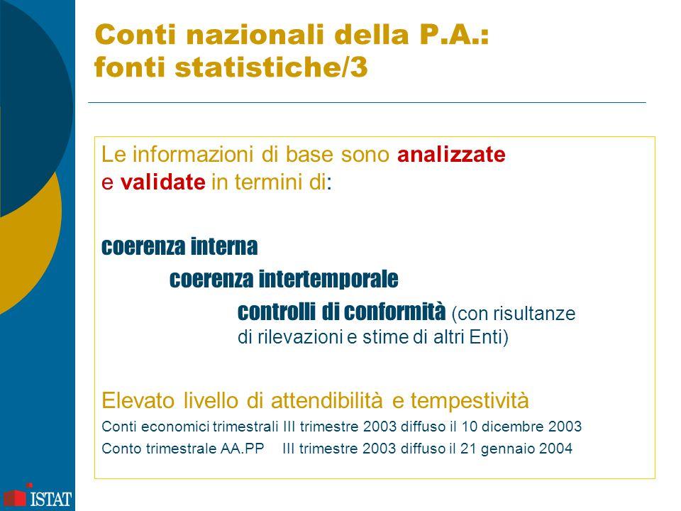 Conti nazionali della P.A.: fonti statistiche/3 Le informazioni di base sono analizzate e validate in termini di: coerenza interna coerenza intertempo